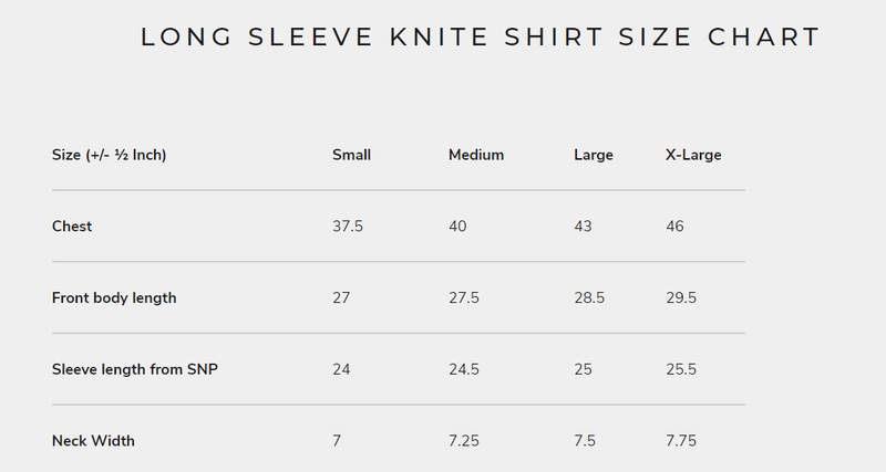 Long Sleeve Knite Shirt - Size Chart