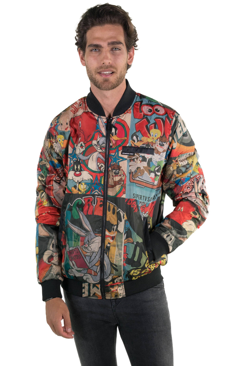 Men's Looney Tunes Vintage Mash Print Jacket Black