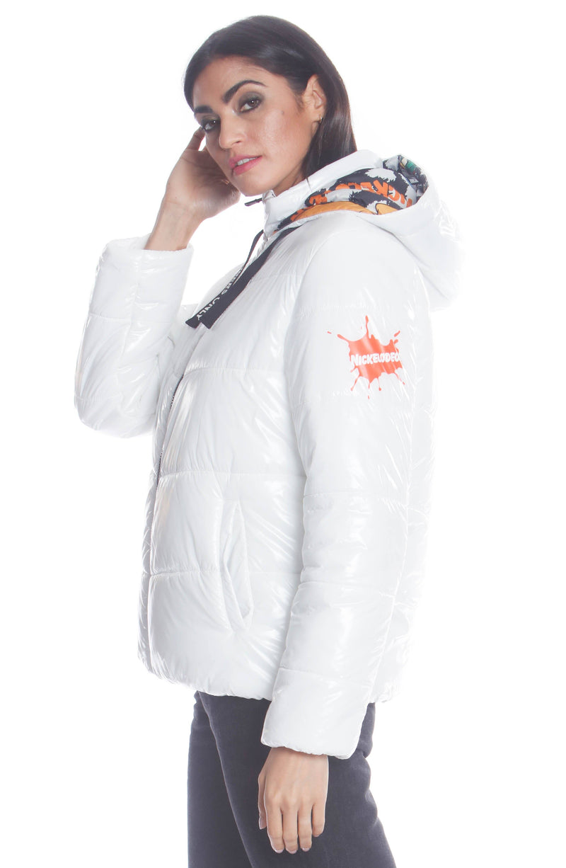 Women's Hi-Shine Chevron Quilt Puffer with Nickelodeon Mashup Print Lining Jacket Members Only