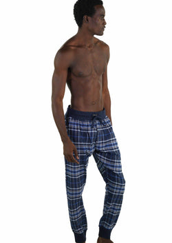 Men's Flannel Jogger Lounge Pants - GREY/BLUE Sleepwear Pants Members Only