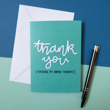 thank you unpaid therapist greeting card