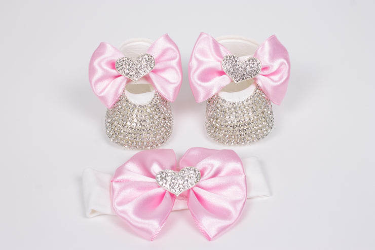 Baby's Silver Heart Shoes with Headband