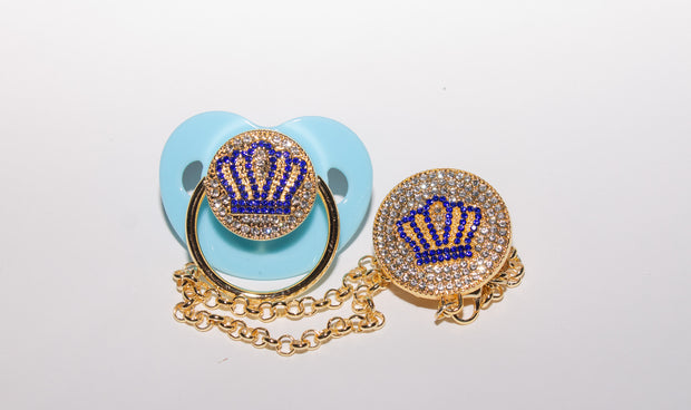 Blue Crown Pacifier with Clip