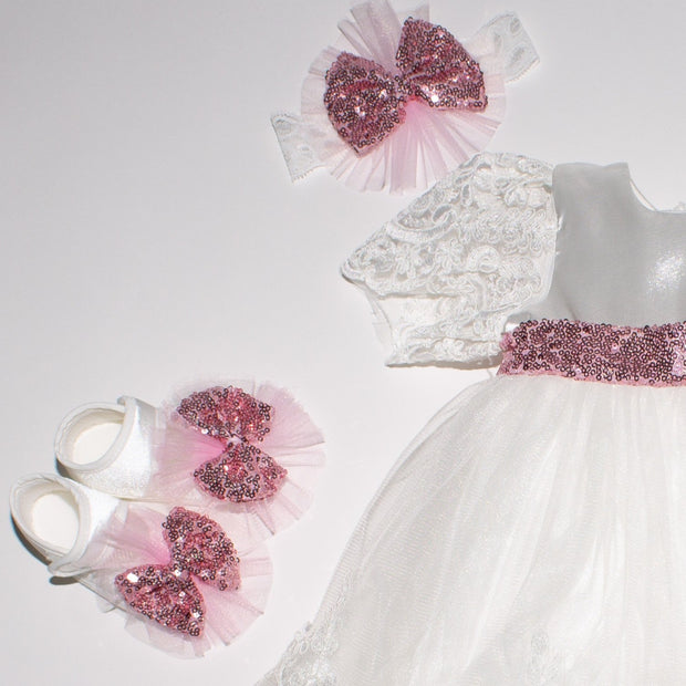 Baby Girls Dress With Sequin Bow