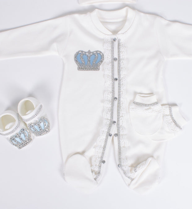 Baby Boys Light Blue Crown Set