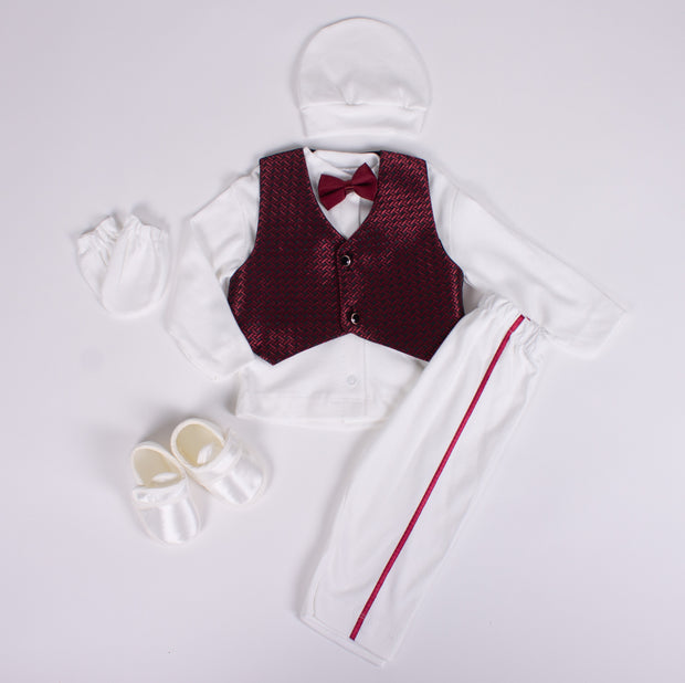 Burgundy Bow Tie Set