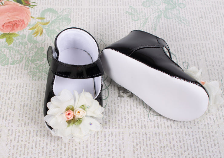 Baby Black Shoes with  Flowers
