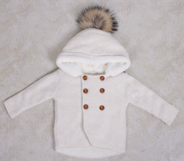 Unisex Knitted Winter Coat with Hood
