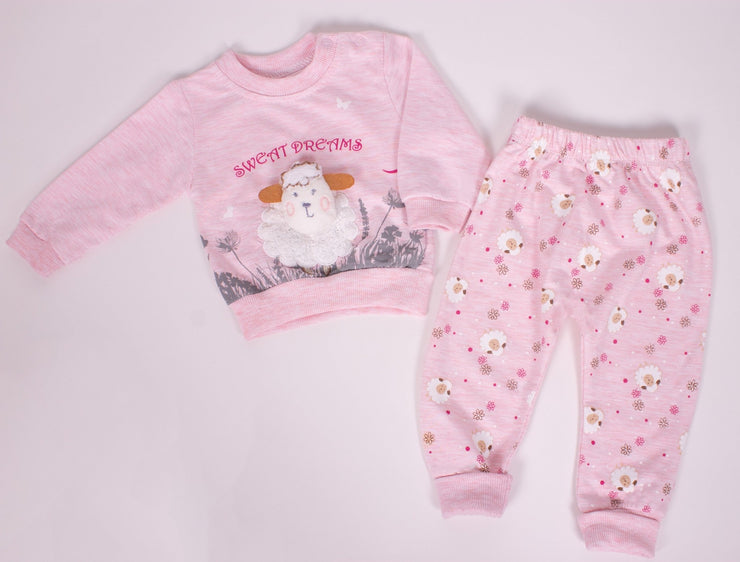 Baby Girls' Cotton Lamb Pajama Set - Elma's Clothing