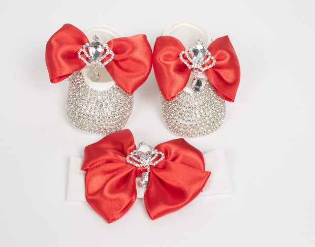 Baby's Red Crown Shoes and Headband - Elma's Clothing