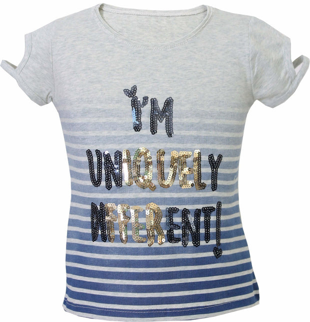 Blue and Gray Uniquely Different T-shirt - Elma's Clothing
