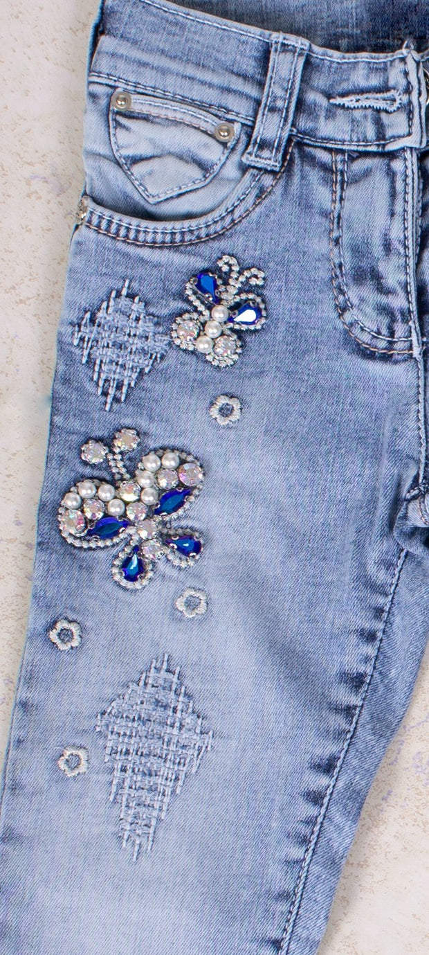 Blue Butterfly Pearl Jeans - Elma's Clothing