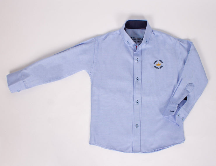Boys Bddxutton-down Blue Shirt - Elma's Clothing