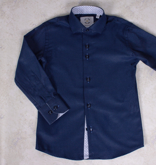Boys' Button Down Dark Blue Dress Shirt - Elma's Clothing