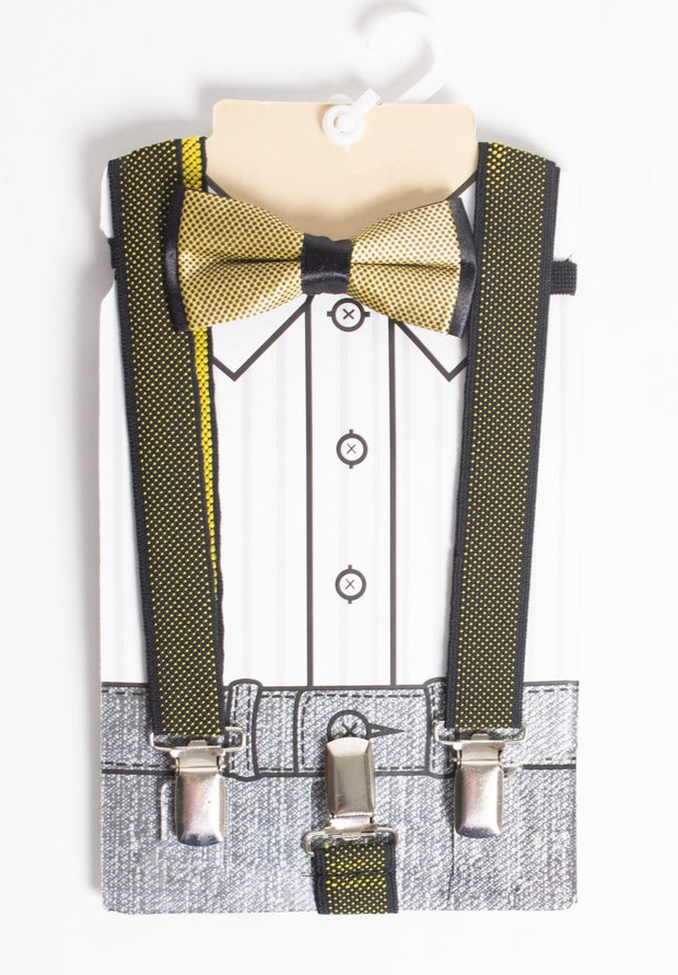 Boys Gold/ Black Suspenders & Bow Tie - Elma's Clothing