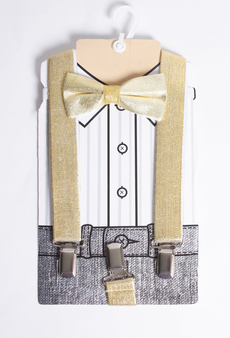 Boys Gold Color Bow Tie & Suspenders - Elma's Clothing