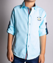 Boys Long Sleeve Aqua Shirt - Elma's Clothing