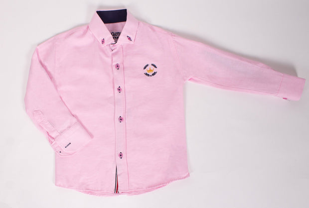 Boys Long Sleeve Pink Shirt - Elma's Clothing