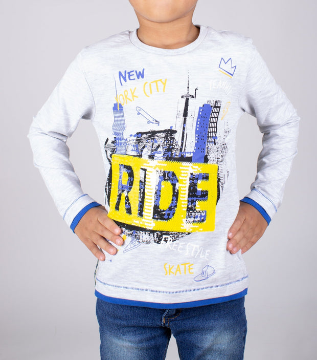 Boys' Long Sleeve Sequin Graphic T-shirt - Elma's Clothing