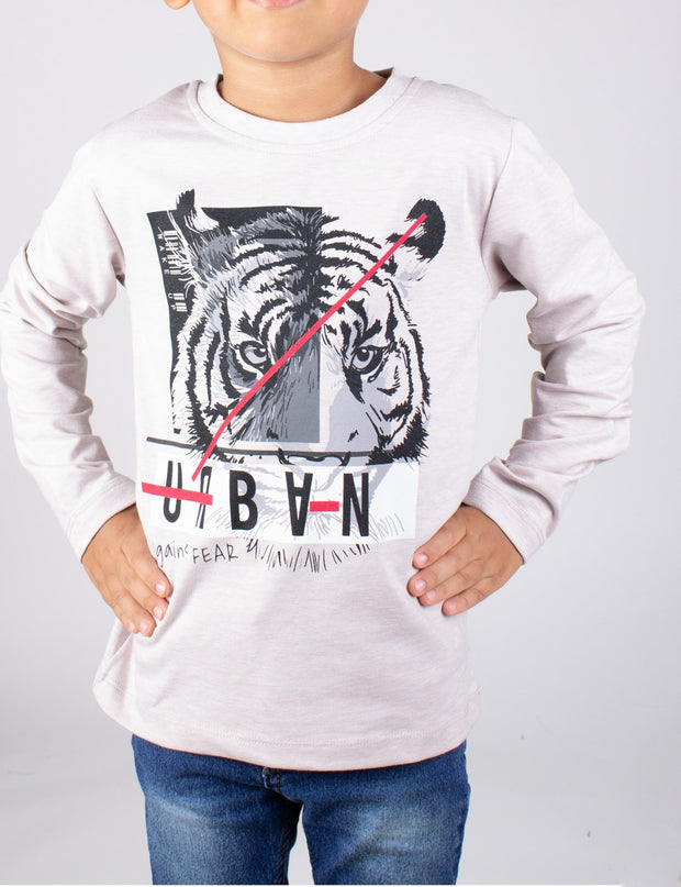 Boys' Long Sleeve Tiger T-shirt - Elma's Clothing