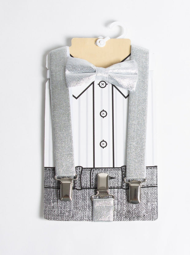 Boys Silver Bow Tie with Suspenders - Elma's Clothing