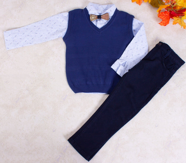 Boys V-Neck Sweater Vest Set - Elma's Clothing