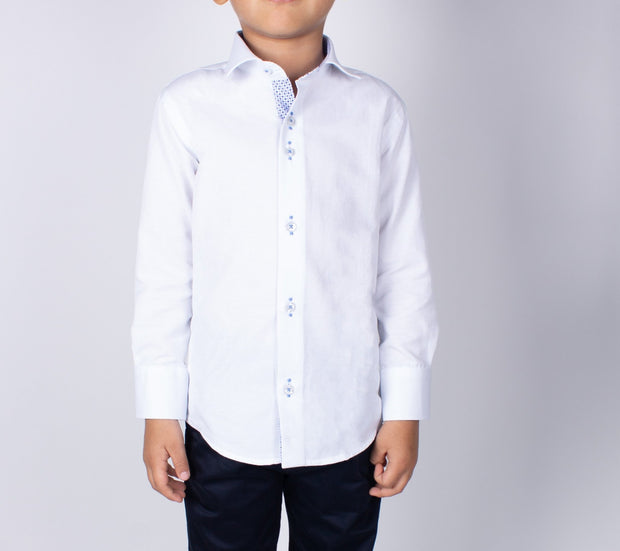 Boy's White Long Sleeve Dress Shirt - Elma's Clothing