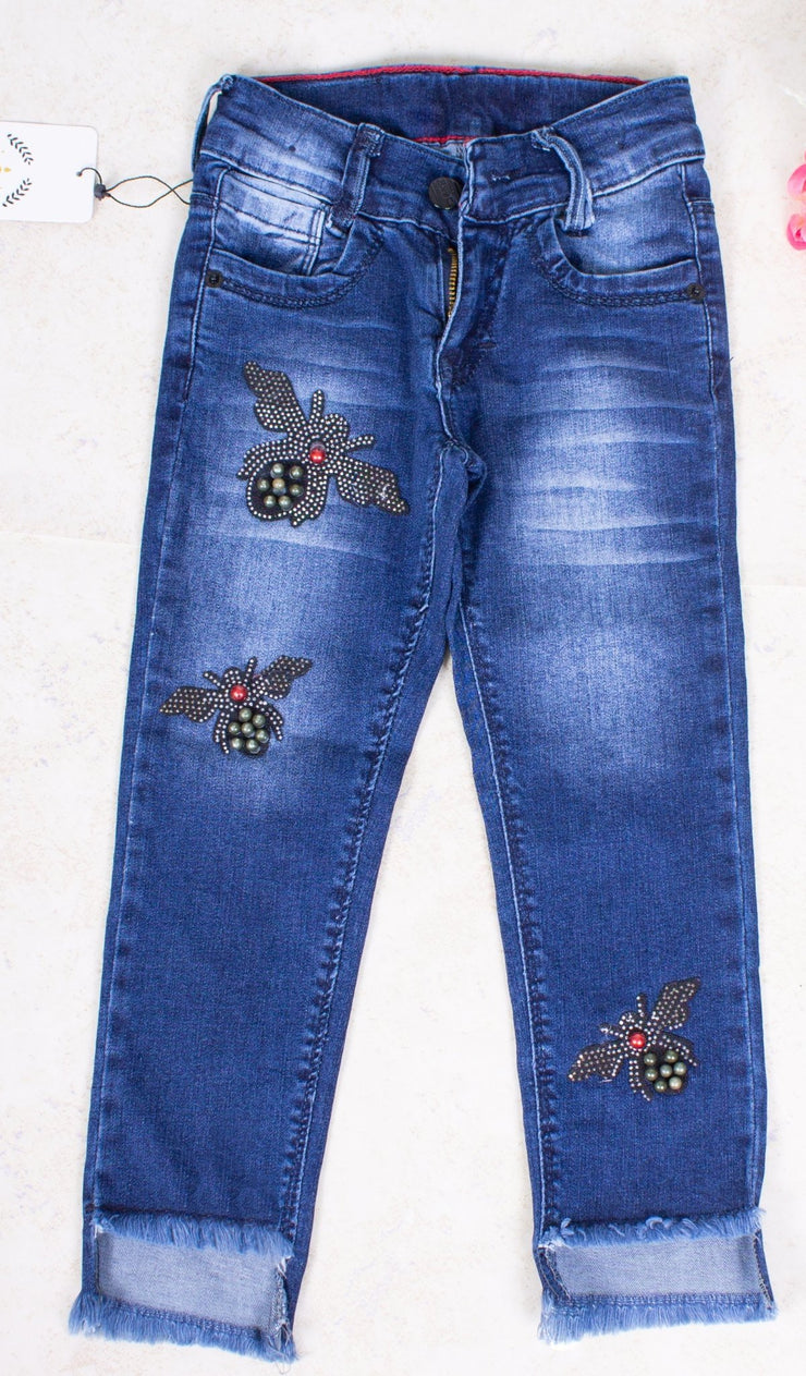 Dark Blue Stud Jeans - Elma's Clothing