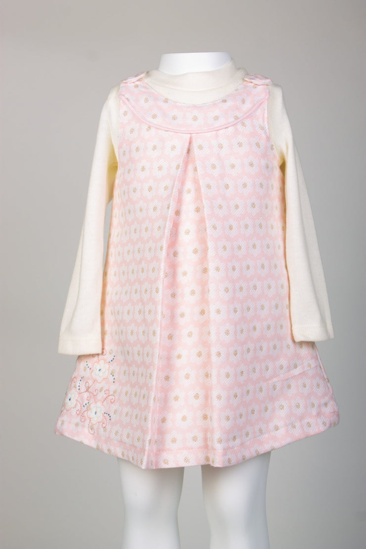 Girls' 2 Piece Pink Overall Dress - Elma's Clothing