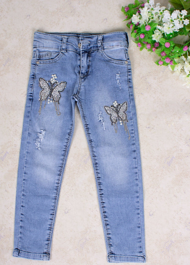 Girls' Blue Butterfly Jeans - Elma's Clothing