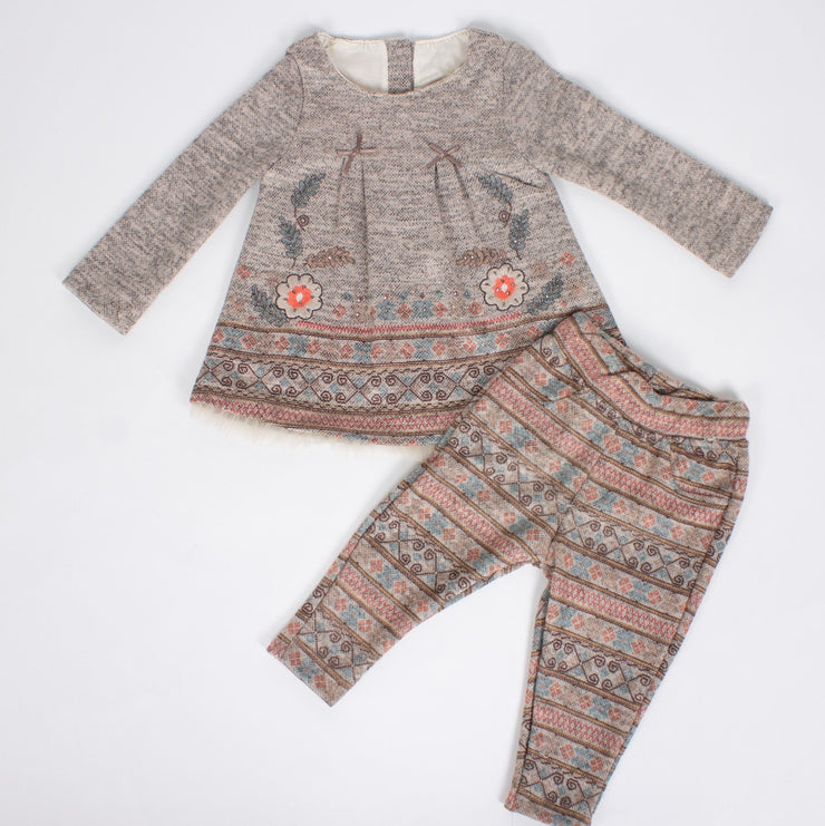 Girls' Brown Top and Bottom Set - Elma's Clothing