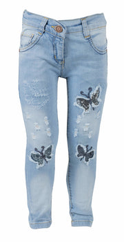 Girls' Butterfly Jeans Black - Elma's Clothing