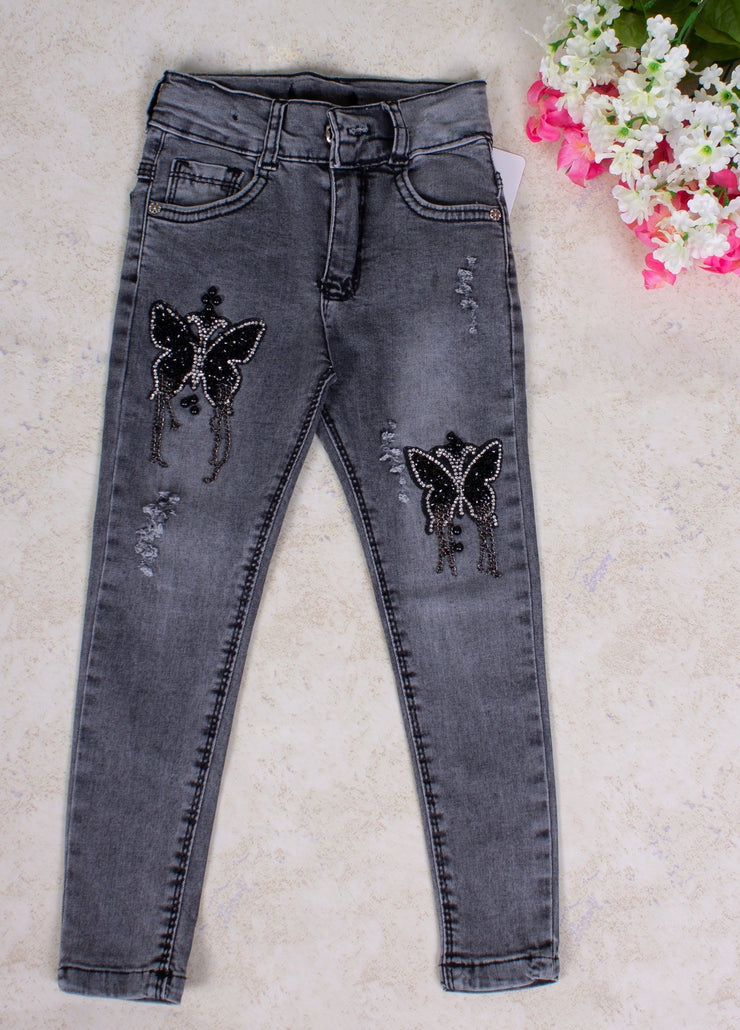 Girls' Butterfly Jeans Pant - Elma's Clothing