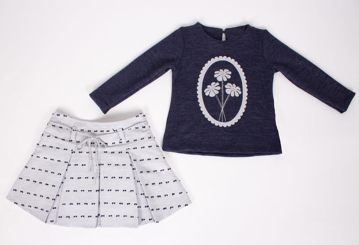 Girls' Dark Navy Top and Skirt - Elma's Clothing