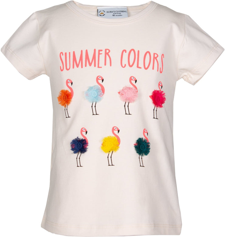 Girls' Flamingo T-shirt - Elma's Clothing