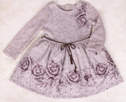 Girls Long Sleeve Brown Dress - Elma's Clothing