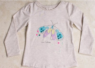 Girls' Long Sleeve Butterfly T-shirt - Elma's Clothing