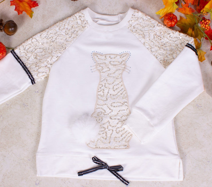 Girls Long Sleeve Crew Neck White Top - Elma's Clothing