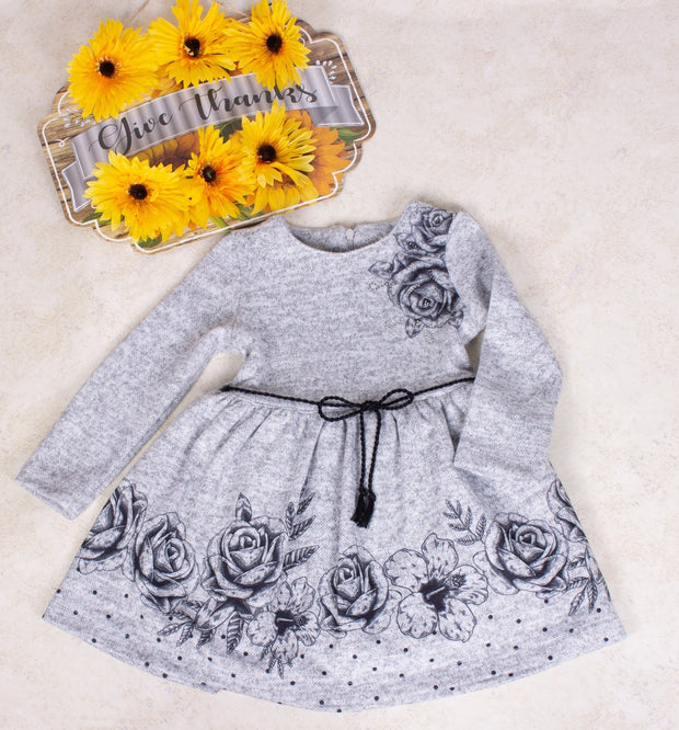 Girls Long Sleeve Gray Dress - Elma's Clothing