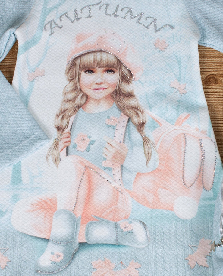 Girls Long Sleeve Light Blue Dress With Backpack - Elma's Clothing