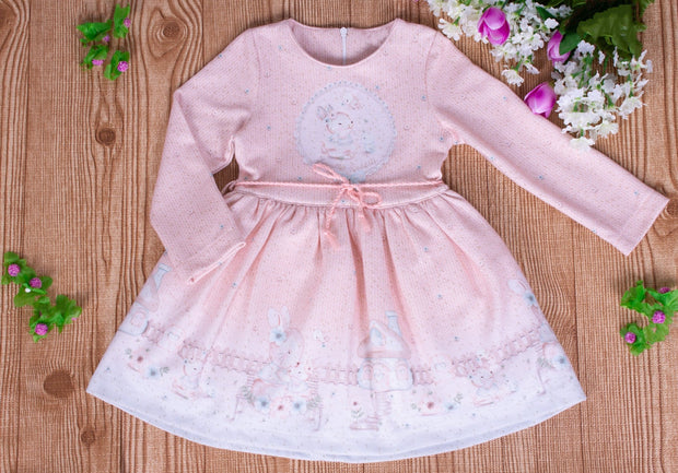 Girls' Long Sleeve Pink Dress - Elma's Clothing