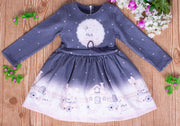 Girls' Long Sleeves Dark Gray Dress - Elma's Clothing