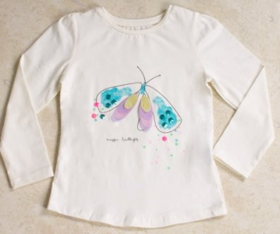 Girls' Long Sleeves Ivory T-shirt - Elma's Clothing