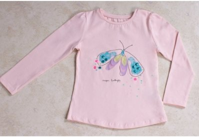 Girls' Pink Butterfly Long Sleeves T-shirt - Elma's Clothing