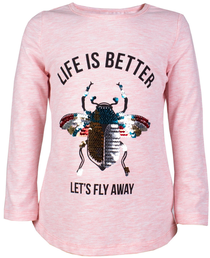 Girls' Pink Long Sleeve Beetle T-shirt - Elma's Clothing