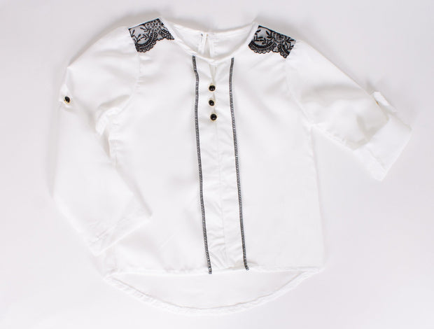 Girls' Shirt White - Elma's Clothing