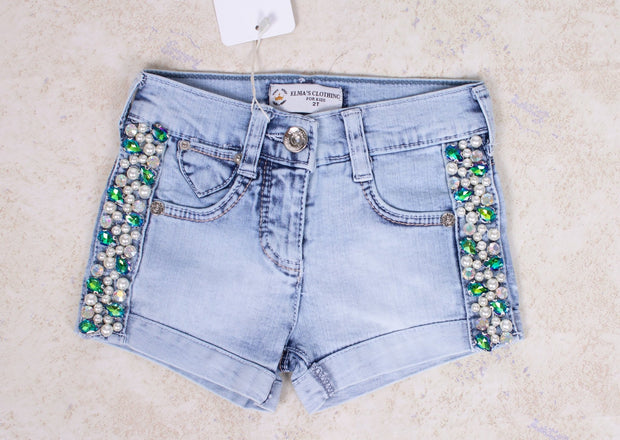 Girls' Shorts with Pearls - Elma's Clothing