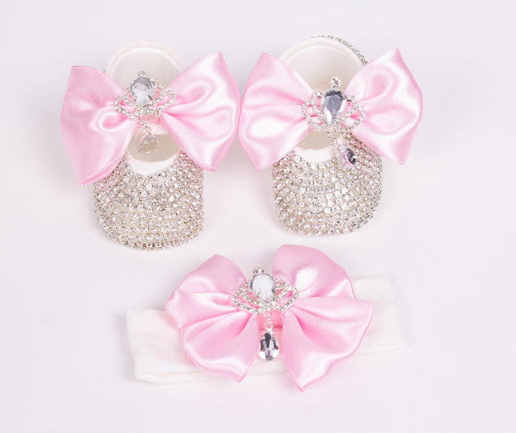 Girls Silver Crown Shoes with Band - Elma's Clothing