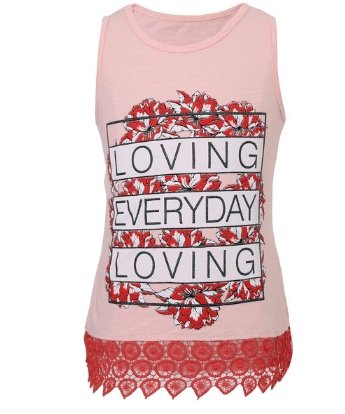Girls Sleeveless Pink T-shirt - Elma's Clothing
