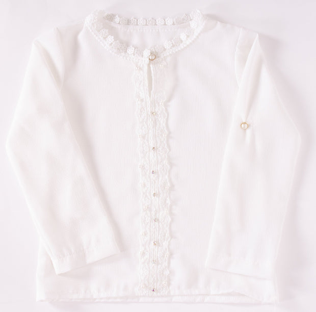 Girls Top with Crystals and Pearls - Elma's Clothing